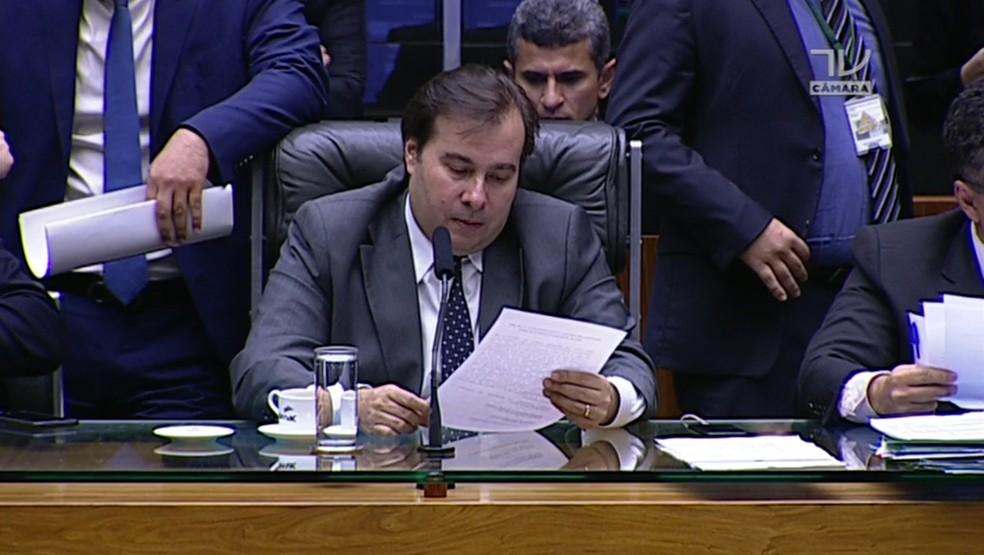 Rodrigo Maia durante sessão da Câmara na quarta-feira (16) (Foto: Reprodução/TV Câmara)