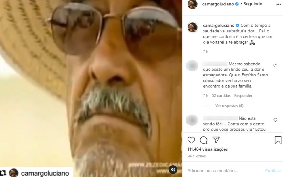Publicação de Luciano, da dupla com Zezé, dias após a morte do pai Francisco Camargo — Foto: Reprodução/Instagram