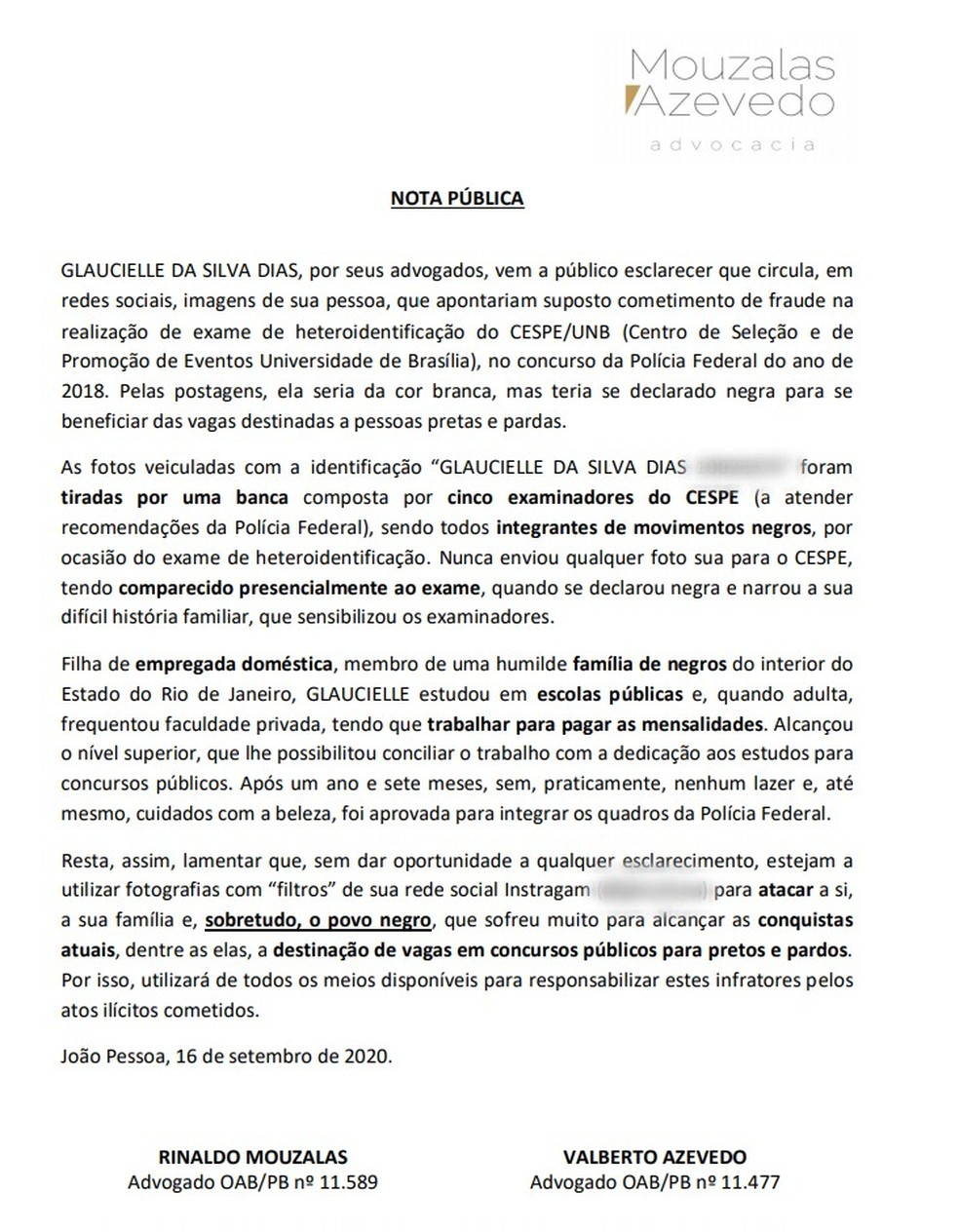 Advogados de Glaucielle Dias emitiram nota onde afirmaram que ela é 'filha de empregada doméstica, membro de uma humilde família de negros do interior do Rio de Janeiro'  — Foto: Reprodução