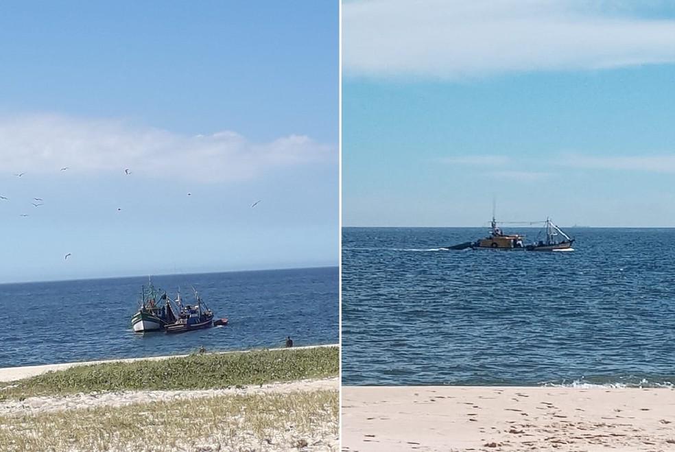 Pescadores artesanais afirmam que estão sendo prejudicados devido à atuação da pesca ilegal de traineiras perto das praias de Maricá — Foto: Divulgação pescadores