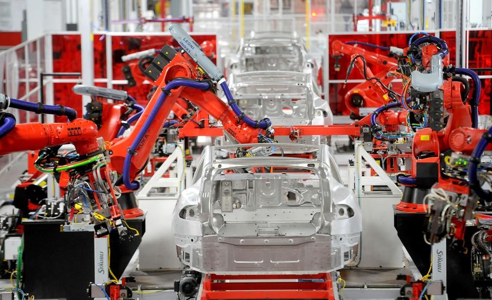 Fábrica da Tesla na Califórnia, EUA (Foto: Noah Berger/Reuters)