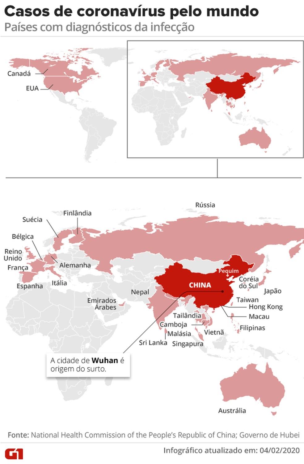 Casos de coronavírus pelo mundo – 4/02 às 9h — Foto: Arte G1