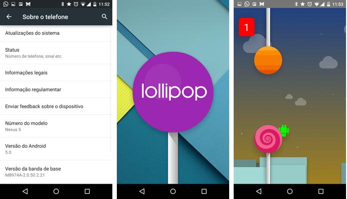 Easteregg do Android 5.0 é uma imitação do jogo Flappy Bird (Foto: Reprodução/Paulo Alves)