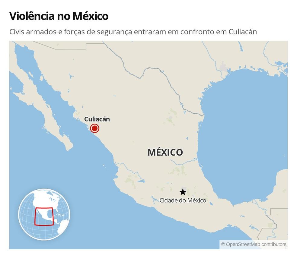 Violência em Culiacán, no México — Foto: G1 Mundo