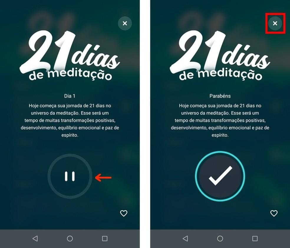 Áudio com meditação do app Zen concluído — Foto: Reprodução/Raquel Freire