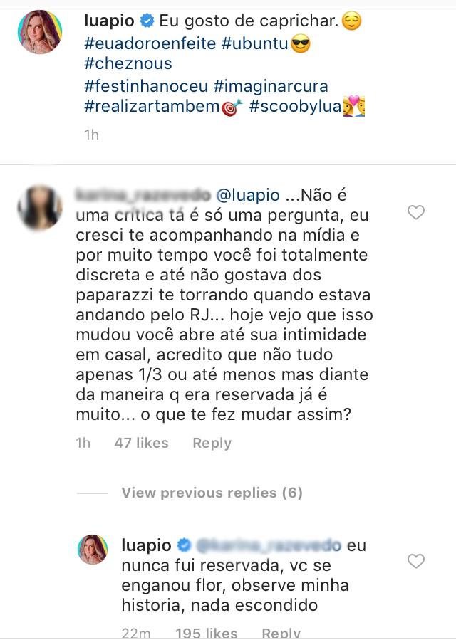 Luana Piovani responde seguidora sobre exposição de intimidade (Foto: Reprodução / Instagram)