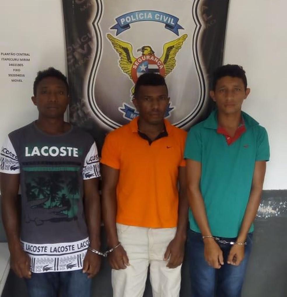 Luís Neves Conceição, Leandro Martins Marinho e Benedito da Guia Rocha foram presos por suspeita de estupro de vulnerável contra uma adolescente de 12 anos no Maranhão — Foto: Divulgação/Polícia Civil