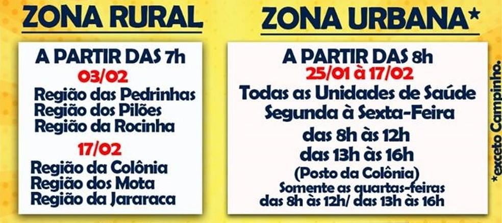 Vacinação em Guaratinguetá; confira locais (Foto: Divulgação/Pref. de Guaratinguetá)