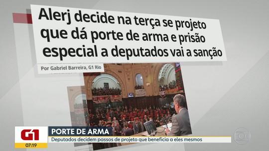 G1 no BDRJ: Deputados da Alerj votam prisão especial e porte de armas para eles mesmos