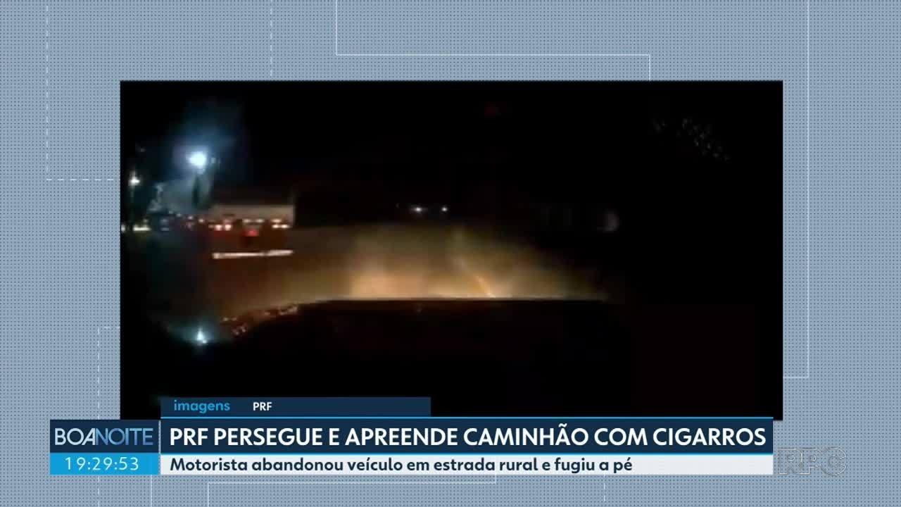 Polícia Rodoviária Federal persegue e apreende caminhão com cigarros na BR-487