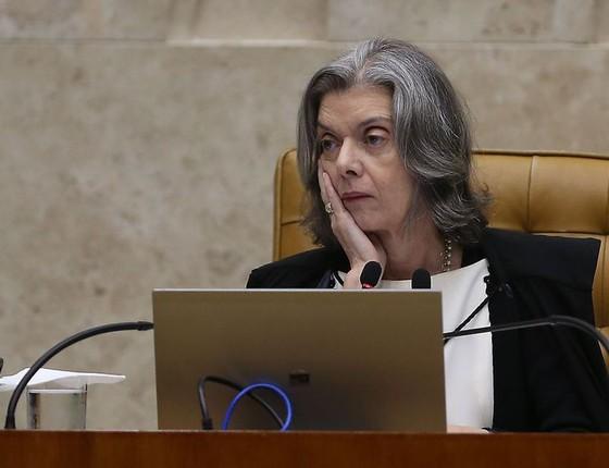 A ministra Carmem Lúcia durante julgamento do pedido de habeas corpus do ex-presidente Lula (José Cruz/Agência Brasil) (Foto: José Cruz/ Agência Brasil)