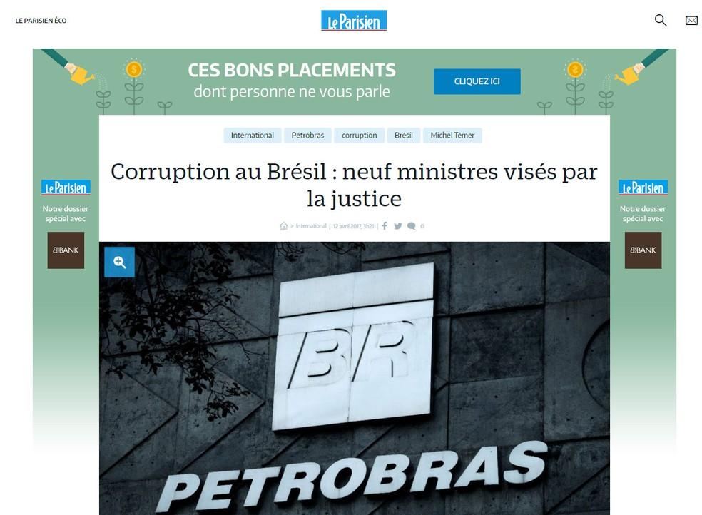 Francês 'Le Parisien' publicou nota sobre as investigações (Foto: Reprodução/Le Parisien)