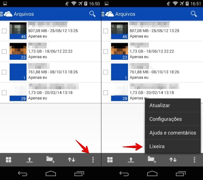 Acessando a lixeira do OneDrive no Android (Foto: Reprodução/Helito Bijora)