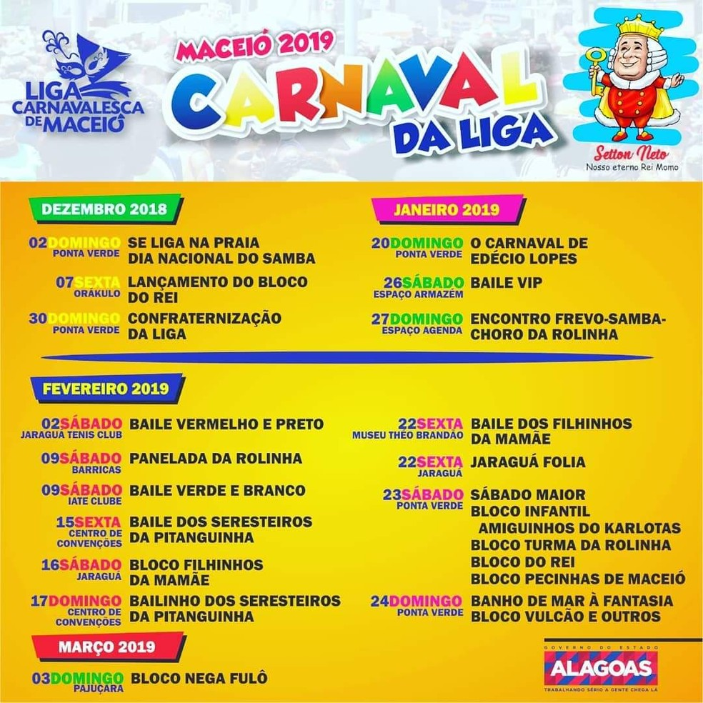 Programação das prévias do Carnaval 2019 de Maceió foi lançada nesta sexta-feira (9) — Foto: Divulgação/Liga Carnavalesca de Maceió