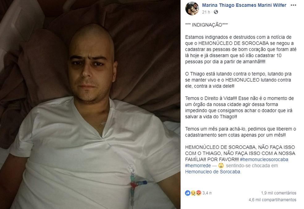 Thiago Wilfer precisa encontrar doador compatível para curar leucemia (Foto: Facebook/Reprodução)