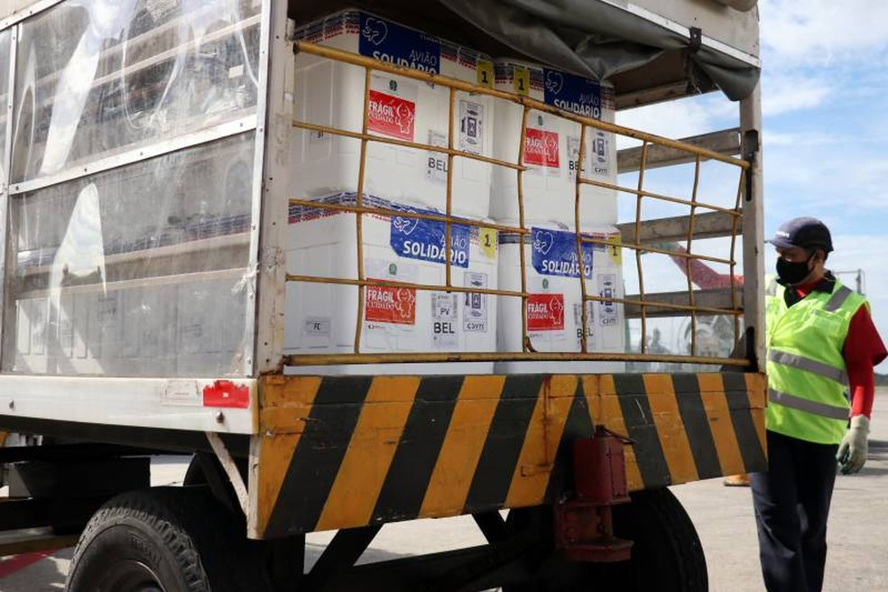 Pará recebe lote com 207.500 doses de vacina contra Covid-19 — Foto: Agência Pará