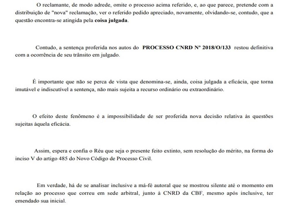 Trecho da defesa do Vasco no processo movido por Anderson Martins — Foto: Reprodução