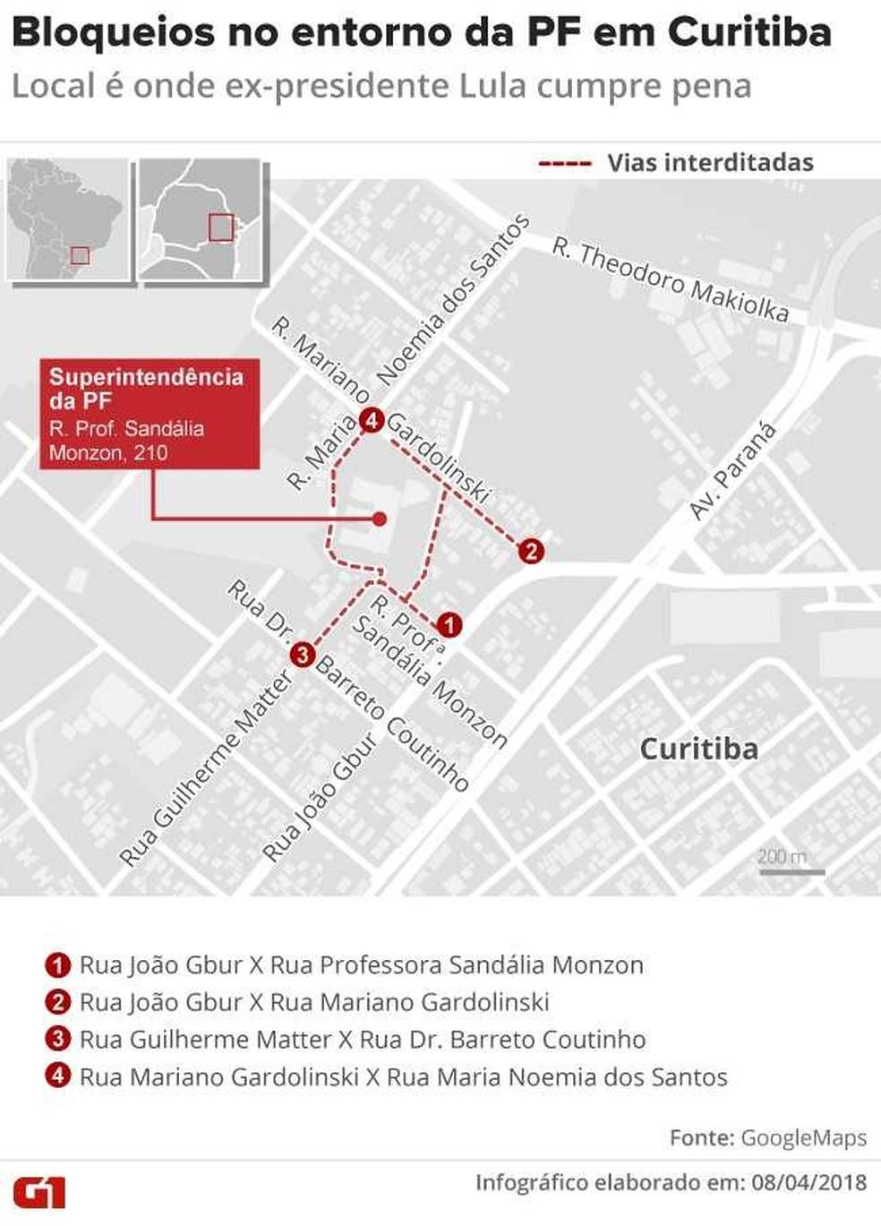 Ruas próximas à PF de Curitiba estão bloqueadas (Foto: Arte G1)