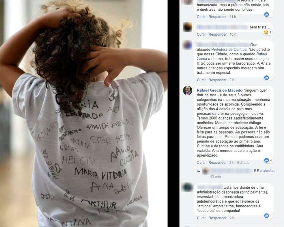 Nesta quinta-feira (25), o prefeito de Curitiba, Rafael Greca (PMN), fez um comentário no Facebook sobre o caso (Foto: Reprodução/Facebook)