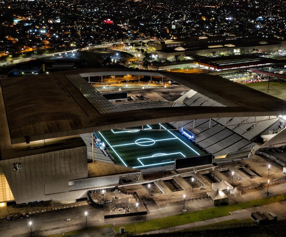 Imagem aérea da Arena Corinthians nesta segunda-feira — Foto: Divulgação