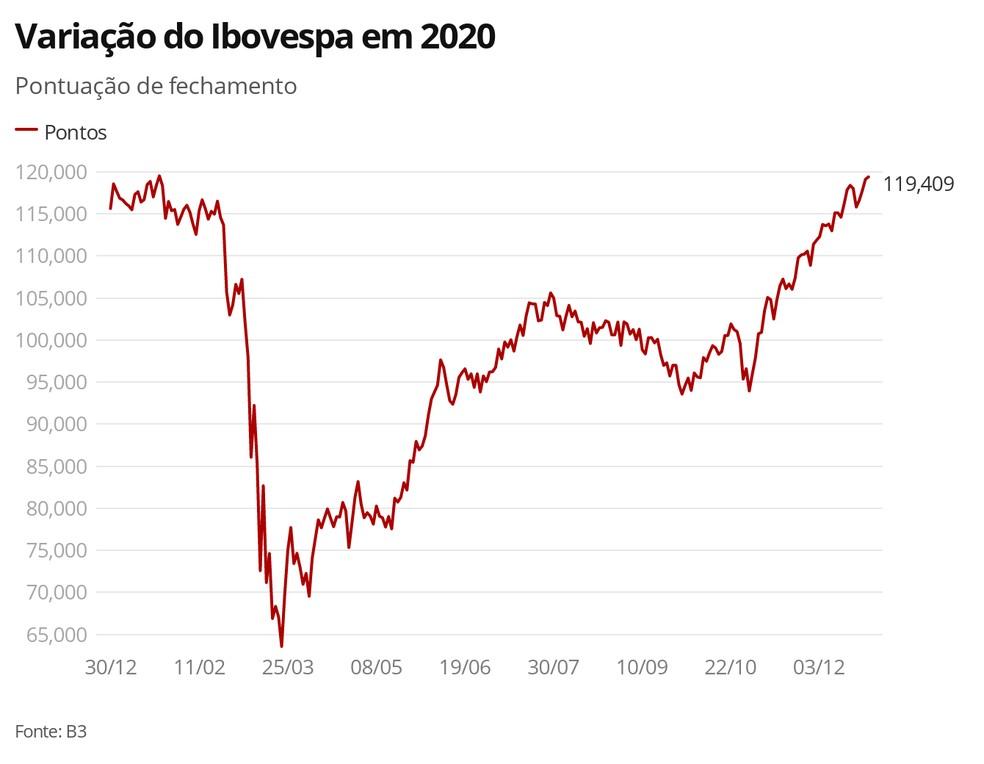 Variação do Ibovespa em 2020 — Foto: G1