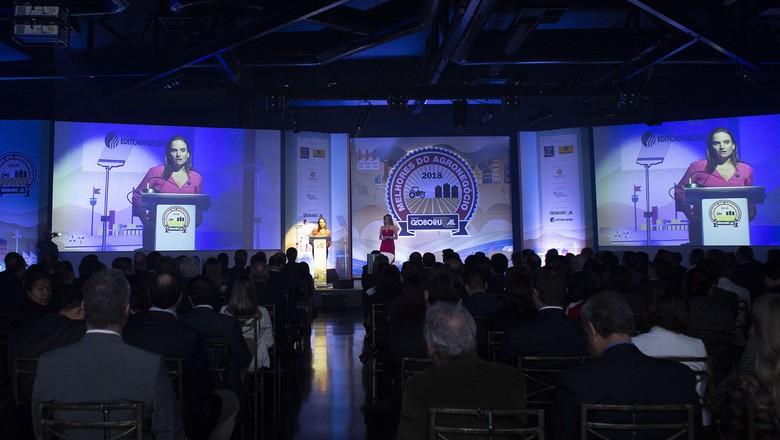 Entrega do prêmio Raça Forte no Melhores do Agro 2018 (Foto: Globo Rural)
