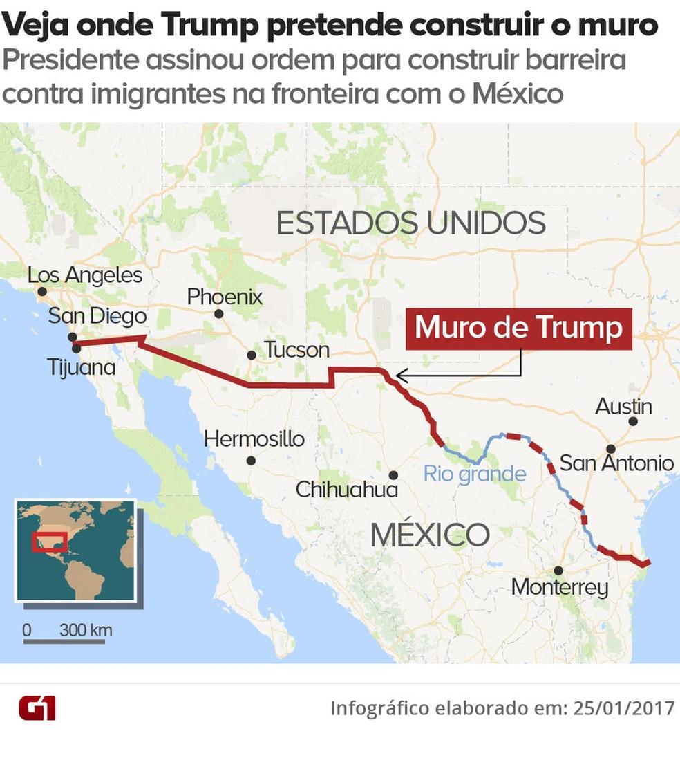 Mapa mostra onde passaria o muro na fronteira de EUA e México proposto por Trump — Foto: G1