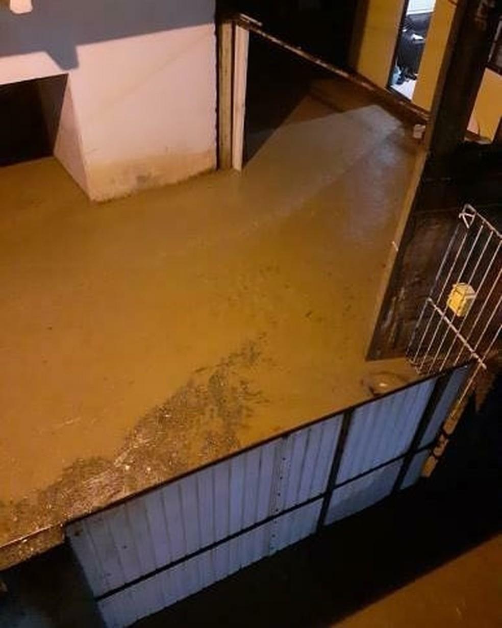 Chuva causa alagamento em Canelinha — Foto: Prefeitura de Canelinha/ Divulgação