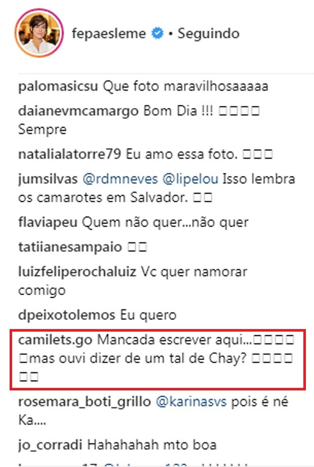 Fe Paes Leme faz post e fãs sugerem que foi indireta para Chay Suede (Foto: Reprodução/Instagram)