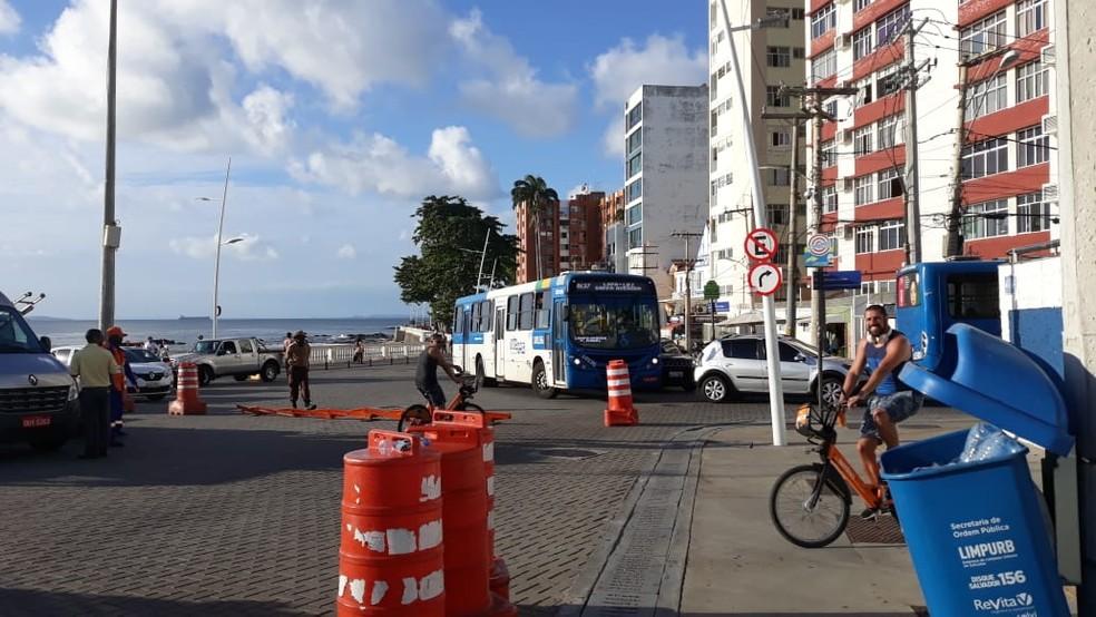 Trânsito será alterado no Farol da Barra, próximo a um dos circuitos do carnaval de salvador — Foto: Maiana Belo/G1 Bahia