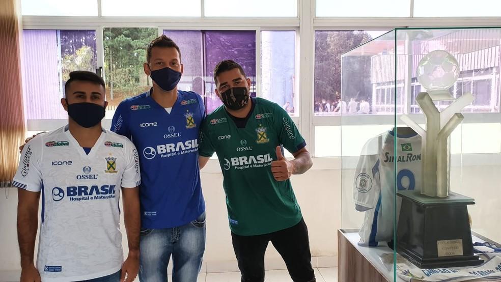 Raphael Lucas, Willian e Ivan, reforços do Santo André — Foto: Reprodução