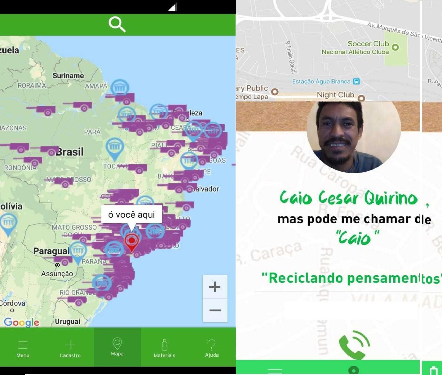 Interface de localização e catador no app Cataki (Foto: Reprodução/Cataki)