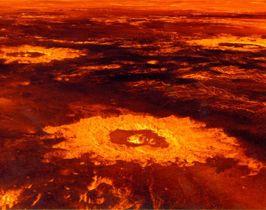 Imagem ilustrativa com base em imagens de radar mostra as crateras de impacto em Vênus (Foto: Nasa/Jet Propulsion Laboratory)