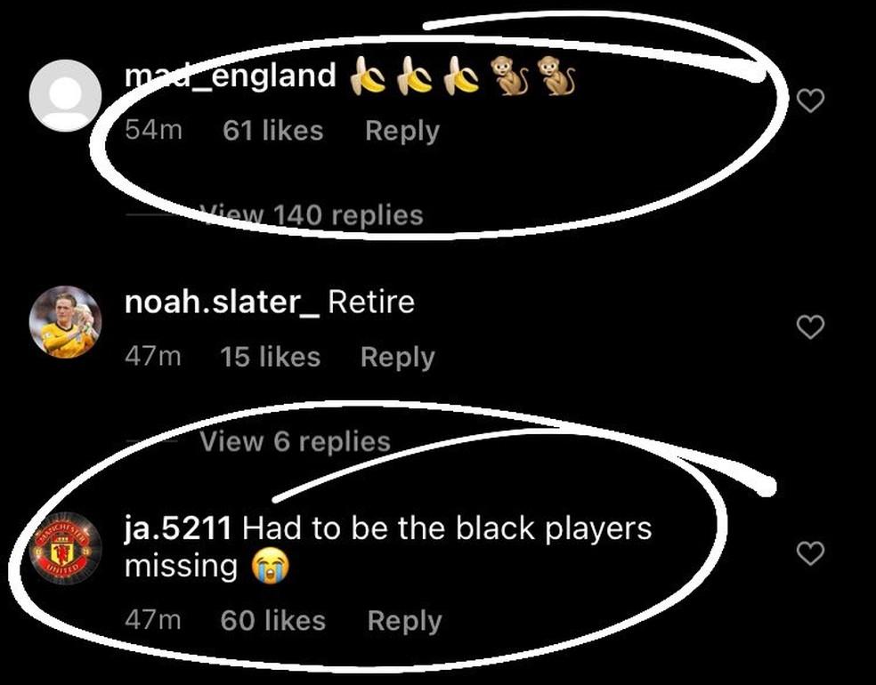 Comentários racistas no Instagram de Sancho. (Reprodução/Instagram)