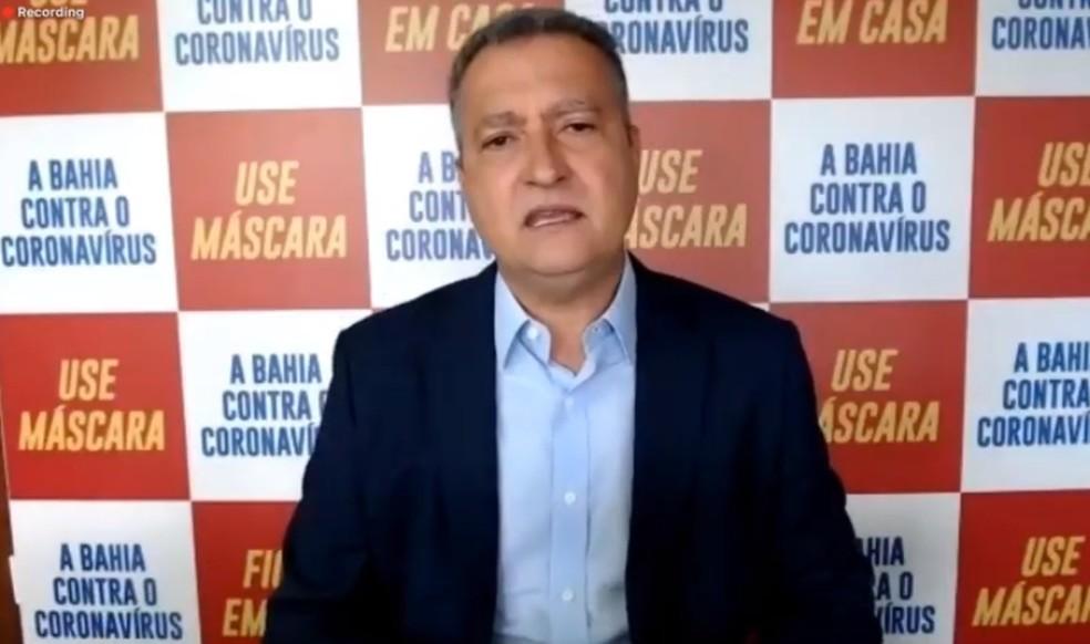 Rui Costa apresenta plano de retomada das atividades na Bahia — Foto: Reprodução / Youtube