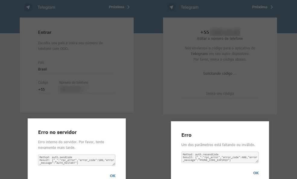 Erros no acesso ao Telegram em testes feitos pelo G1. — Foto: Reprodução