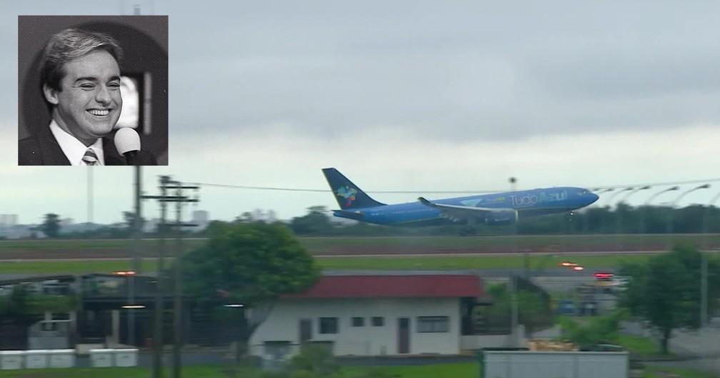 Avião de Gugu pousou em Viracopos às 6h01 desta quinta-feira — Foto: Montagem/G1