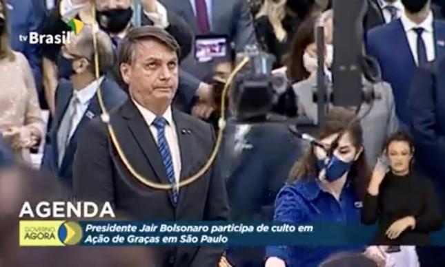 O presidente Jair Bolsonaro em culto evangélico transmitido pela TV Brasil