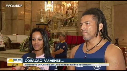 Mineira vencedora da Corrida do Círio 2019 no feminino visita a Basílica de Nazaré