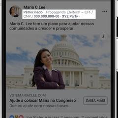 Exemplo de como figurarão os anúncios eleitorais no Facebook. CPF ou CNPJ estará destacado, assim como o autor do anúncio (Foto: Divulgação/Facebook)
