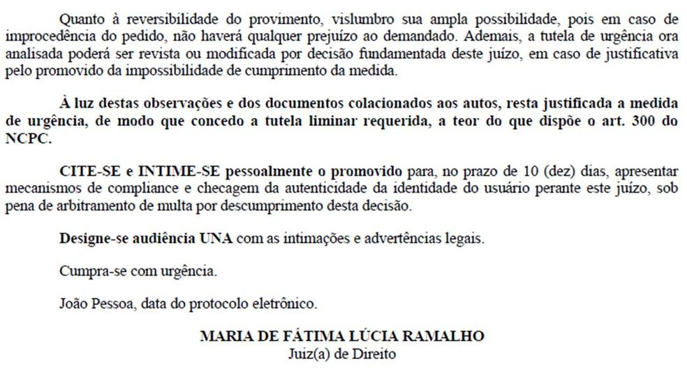 Decisão foi da juíza Maria de Fátima Lúcia Ramalho, do 6º Juizado Especial Cível do TJPB — Foto: Decisão/TJPB/Reprodução