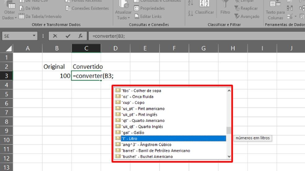 """Escreva a função """"=CONVERTER(X;"""" e escolha a categoria de medida que será convertida (Foto: Reprodução/Daniel Ribeiro)"""