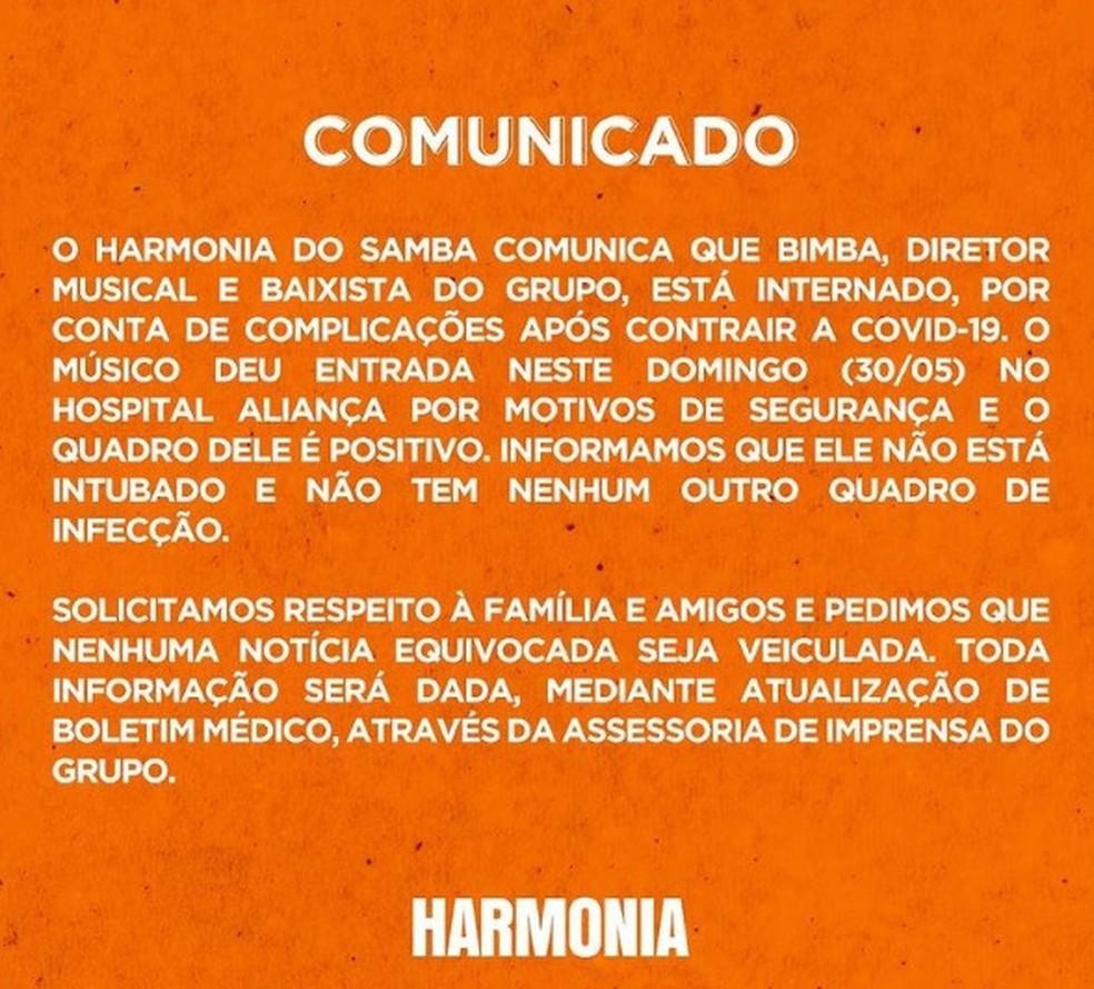 """Autor do hit """"Vem Neném"""", diretor e baixista do Harmonia do Samba é internado em Salvador após complicações causadas pela Covid-19 — Foto: Reprodução / Redes Sociais"""