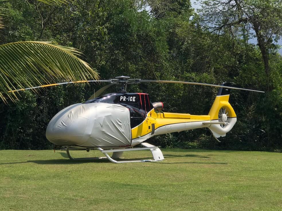 Helicóptero de André do Rap também foi apreendido em Angra dos Reis — Foto: Divulgação