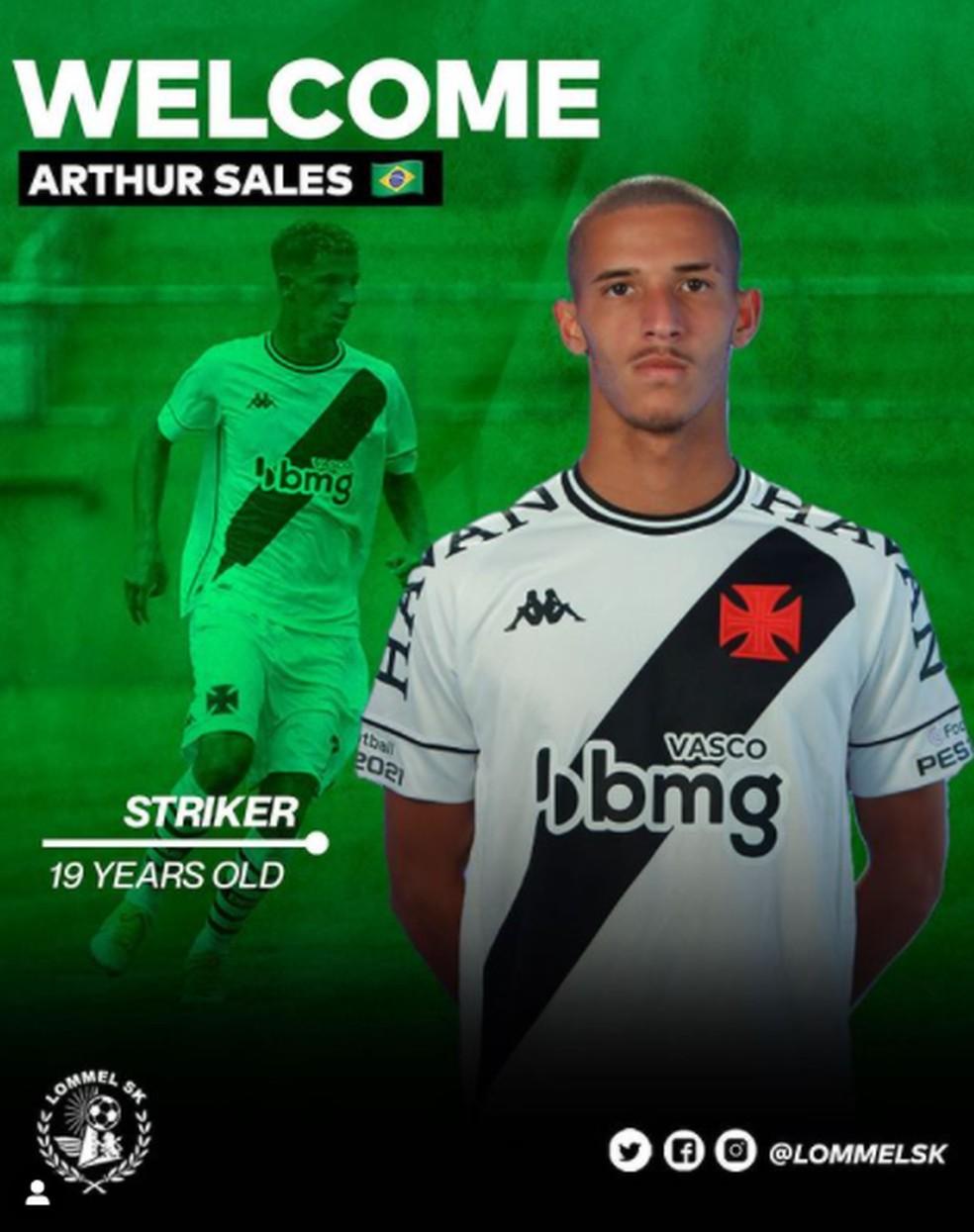 Arthur Sales é vendido pelo Vasco ao Lommel SK, da Bélgica — Foto: Reprodução