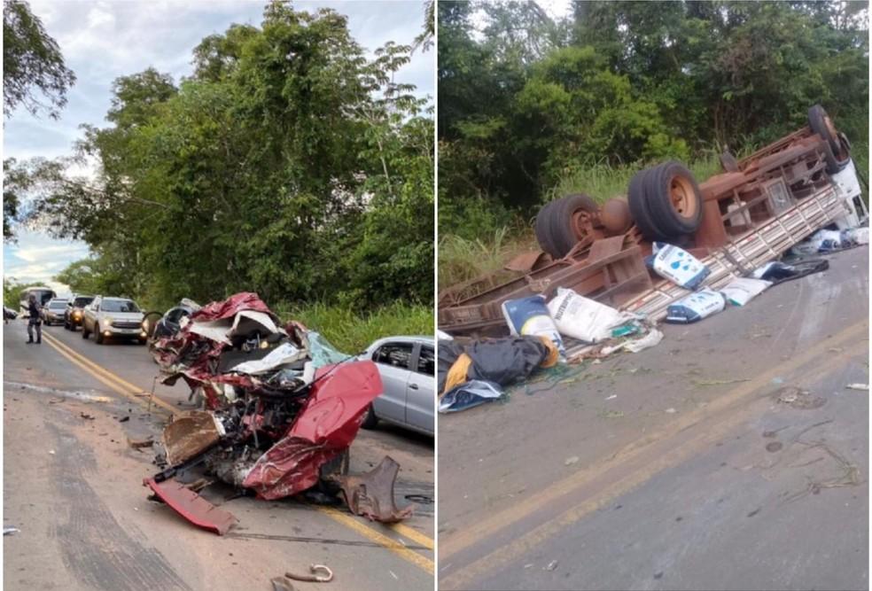 Carro ficou destruído e caminhão tombou às margens da rodovia — Foto: Divulgação