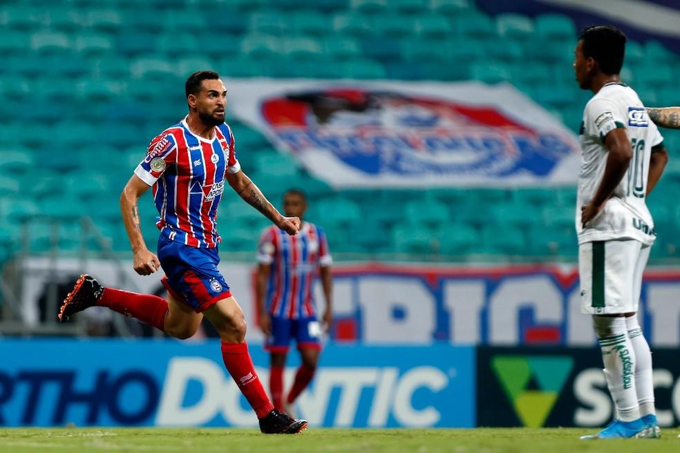 Gilberto comemora gol do Bahia contra o Goiás — Foto: Felipe Oliveira / Divulgação / EC Bahia
