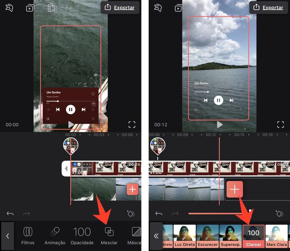 Efeito do Enlight Videoleap deixa fundo do player transparente — Foto: Reprodução/Rodrigo Fernandes