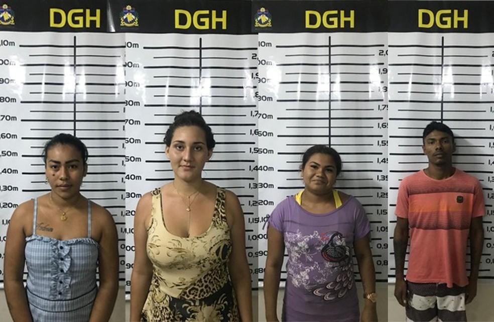 -  Aldreza da Silva, Gislane Gomes, Lauriene Pimentel, e Charlyton Lima foram presos em flagrante  Foto: Divulgação/Polícia Civil