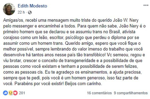 Edith Modesto lamenta câncer no cérebro de João W. Nery (Foto: Reprodução/Facebook)